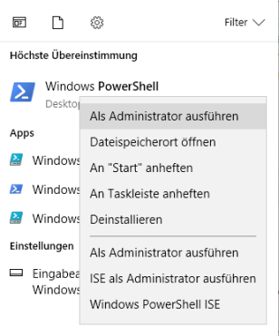 Windows PowerShell als Administrator ausführen
