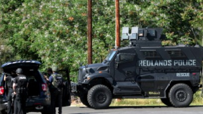 A Bearcat tactical vehicle could be seen at the hostage stand-off. The vehicle was later used to transport the hostage to a waiting helicopter after she was reportedly shot by the suspect. (Credit: Southern California News Group)