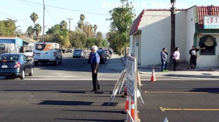 Hemet Police volunteers helped close streets and direct traffic during the accident investigation. Gary Rainwater photo