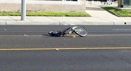 The bicycle involved in the accident showed major damage from the deadly impact. Gary Rainwater photo