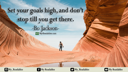 Set your goals high, and don't stop till you get there -Bo jackson-