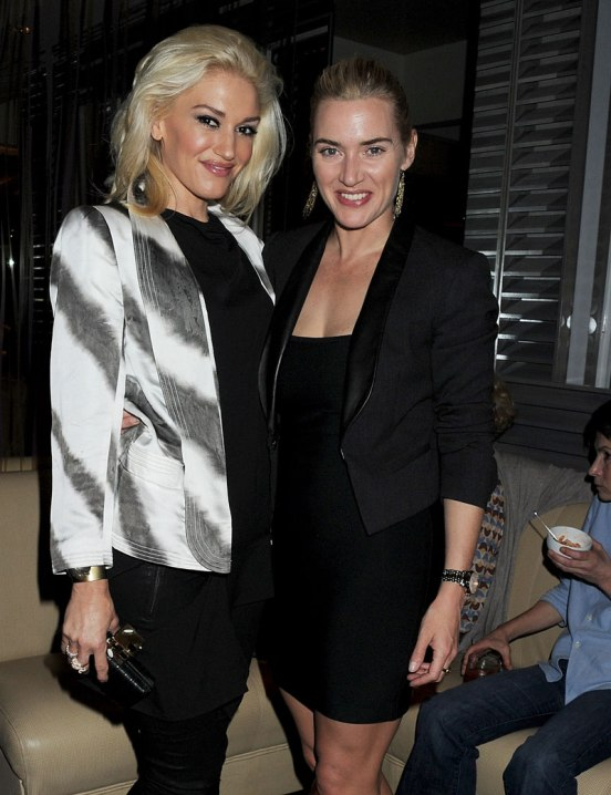 """LONDON, ENGLAND - OCTOBER 04: (EMBARGOED FOR PUBLICATION IN UK TABLOID NEWSPAPERS UNTIL 48 HOURS AFTER CREATE DATE AND TIME. MANDATORY CREDIT PHOTO BY DAVE M. BENETT/GETTY IMAGES REQUIRED) Gwen Stefani (L) and Kate Winslet attend a book launch party for Chef Giorgio Locatelli's new book """"Made In Sicily"""" at Locanda Locatelli on October 4, 2011 in London, England. (Photo by Dave M. Benett/Getty Images)"""