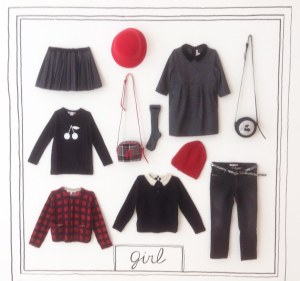 A wall in the grand entrance hall at Bonpoint provides a graphic display of the Fall collection for girls