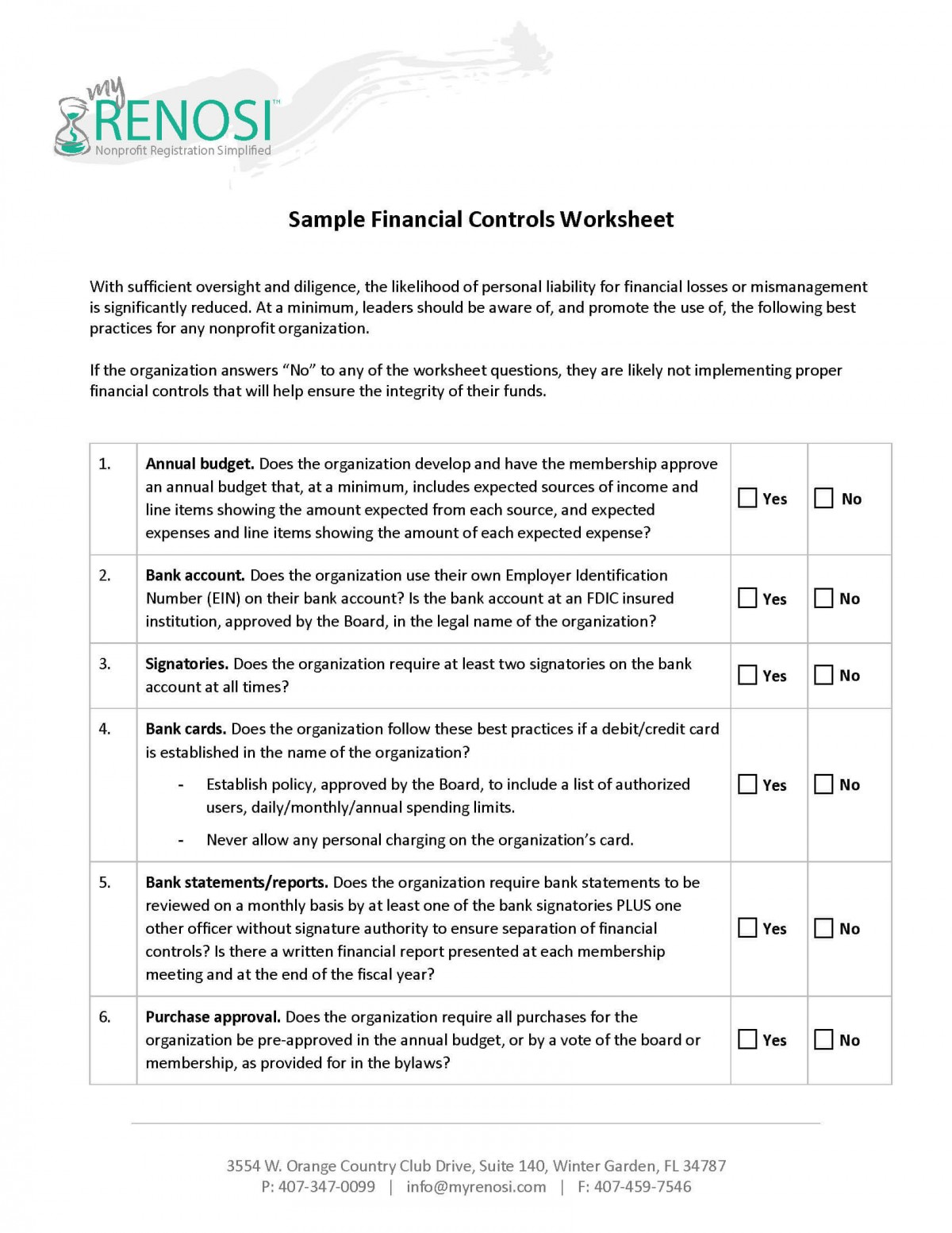 Sample Financial Controls Worksheet