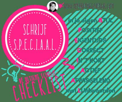Schrijf speciaal, een handige checklist bij teksten schrijven