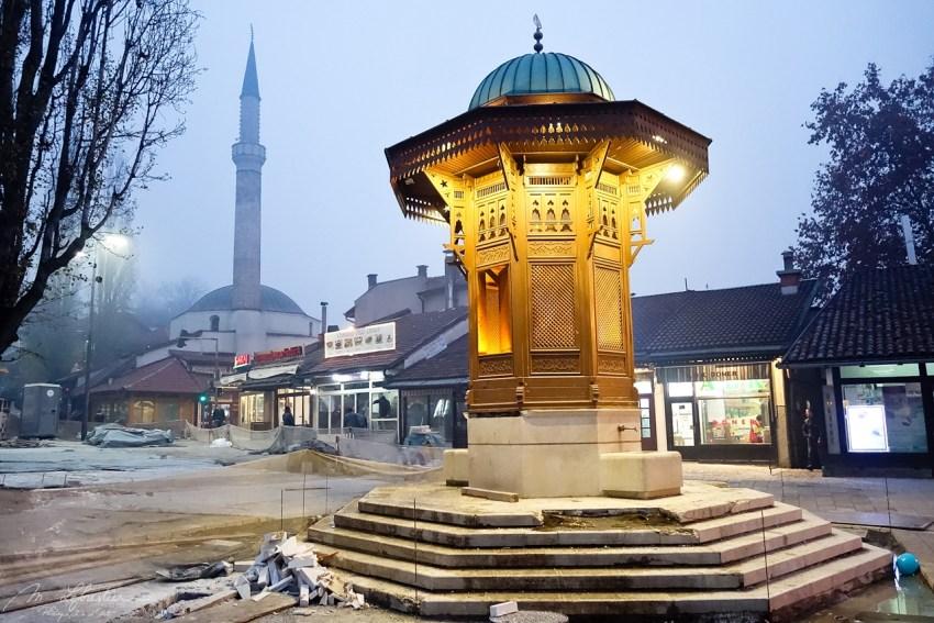 Main square Baščaršija in Sarajevo