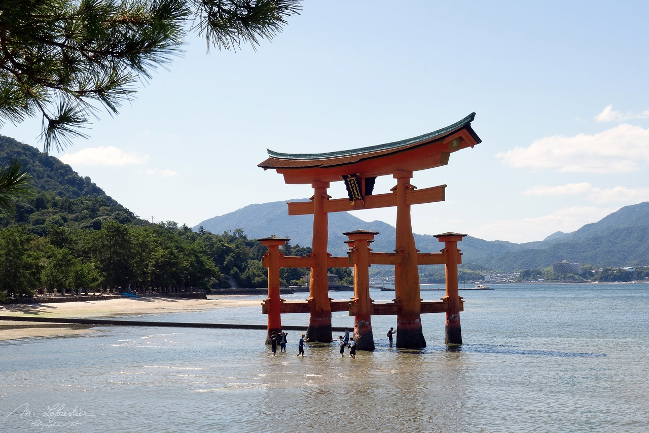 Itsukushima shrine Miyajima island at low tide in Japan