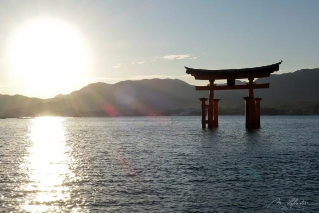 Amazing view Itsukushima shrine Miyajima island Japan torii gate