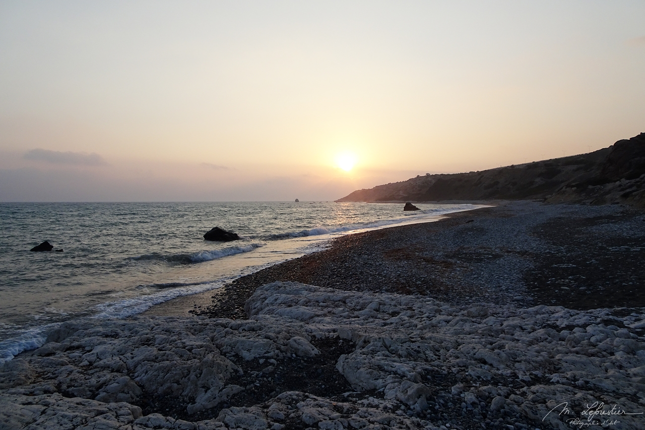 sunset at  Petra Tou Romiou birthplace of goddess Aphrodite in Cyprus
