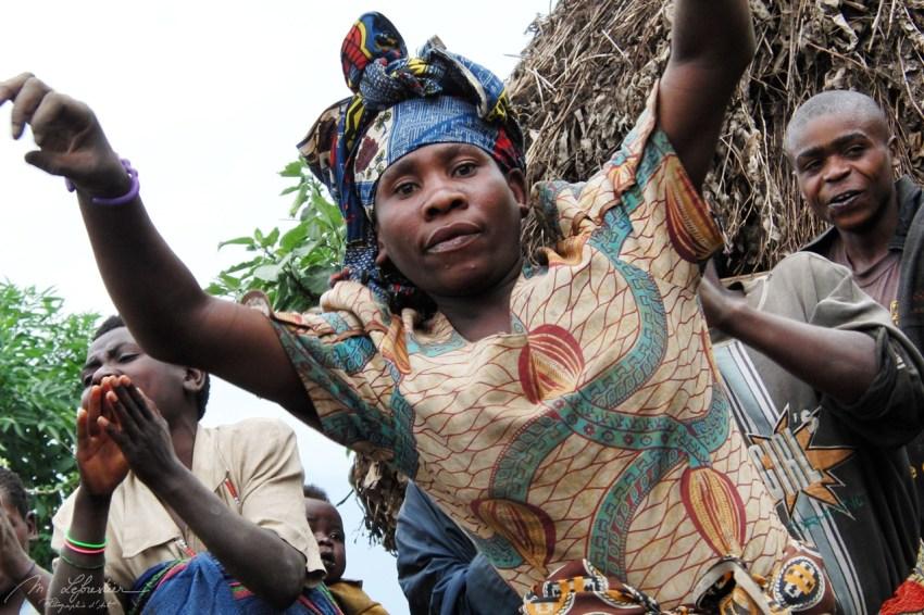 pygmy twa woman dancing in Ruhengeri Rwanda