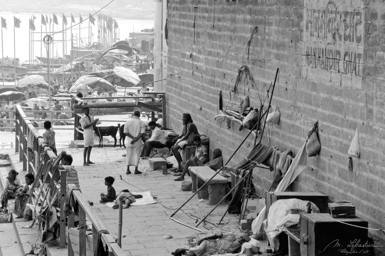 black and white photo of Varanasi India