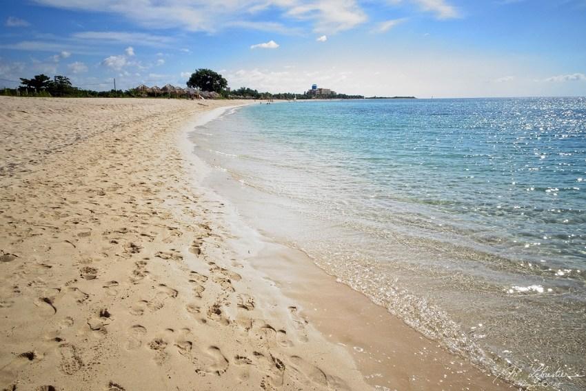view of the tourist free Ancon Beach on the Bahia de Casilda in southern Cuba