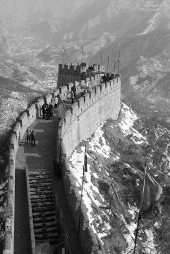 Great Wall in Badaling China black white world wonder