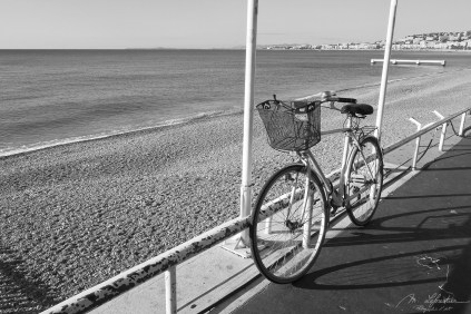 bicycle on the Promenade des Anglais in Nice France