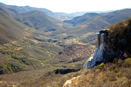 panorama of the valley from Hierve el Agua on a large petrified waterfall Oaxaca Mexicopanorama of the valley from Hierve el Agua on a large petrified waterfall Oaxaca Mexico