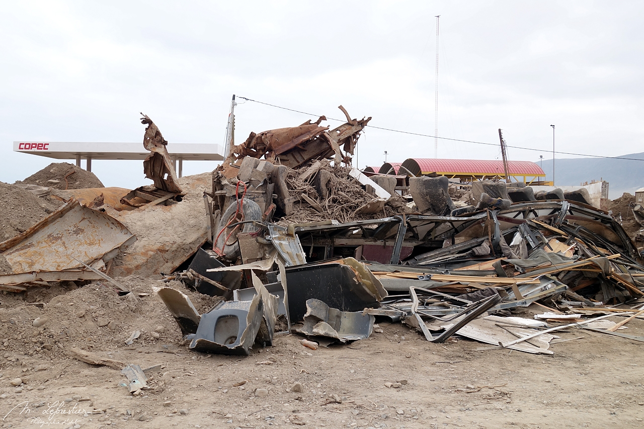 damage by a gas station in Chanaral after the 2015 flooding