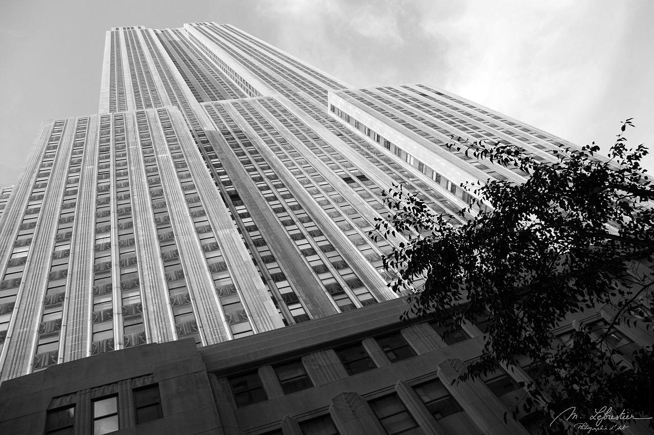 black and white photograph of the empire state building in new york city NYC USA