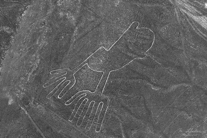 Hands Nazca lines Peru unesco aerial view