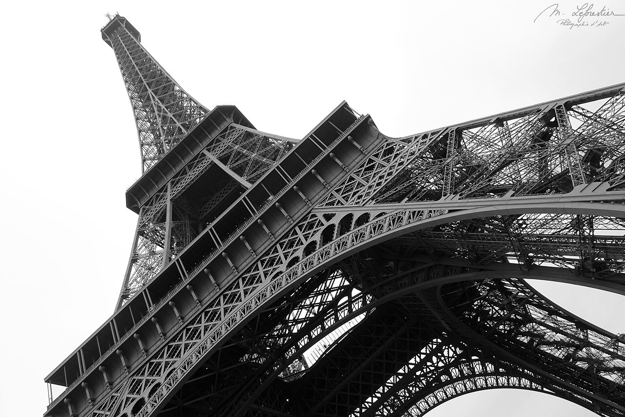 view from under of the Eiffel Tower in Paris