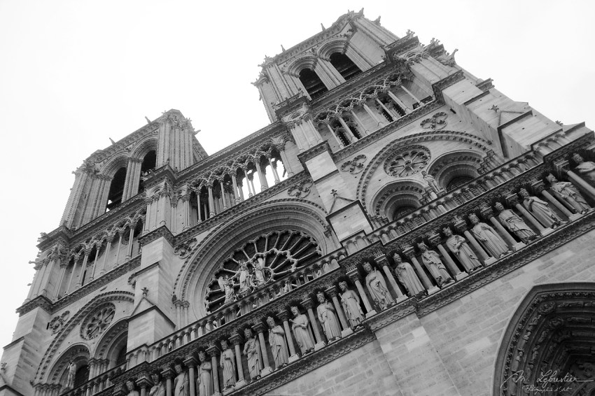 front of Notre Dame de Paris before it burnt