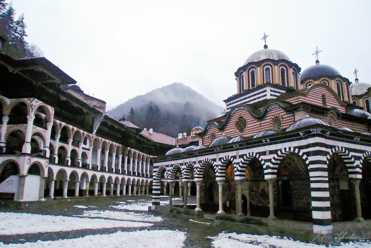 The Rila Monastery in Bulgaria in the winter with snow