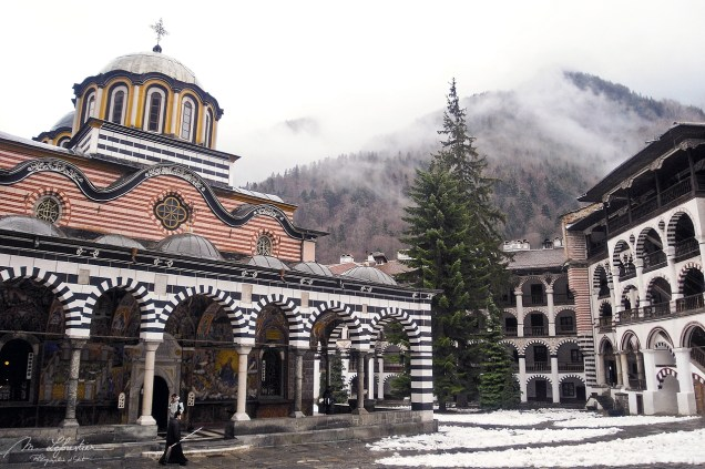 Rila Monastery with snow mountains Bulgaria