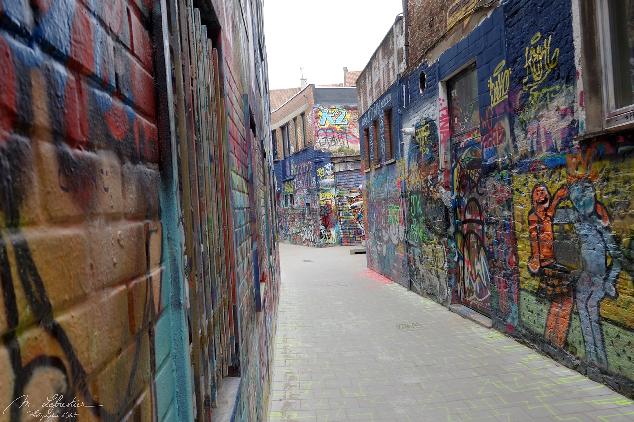 street of graffiti in Ghent Werregarenstraat