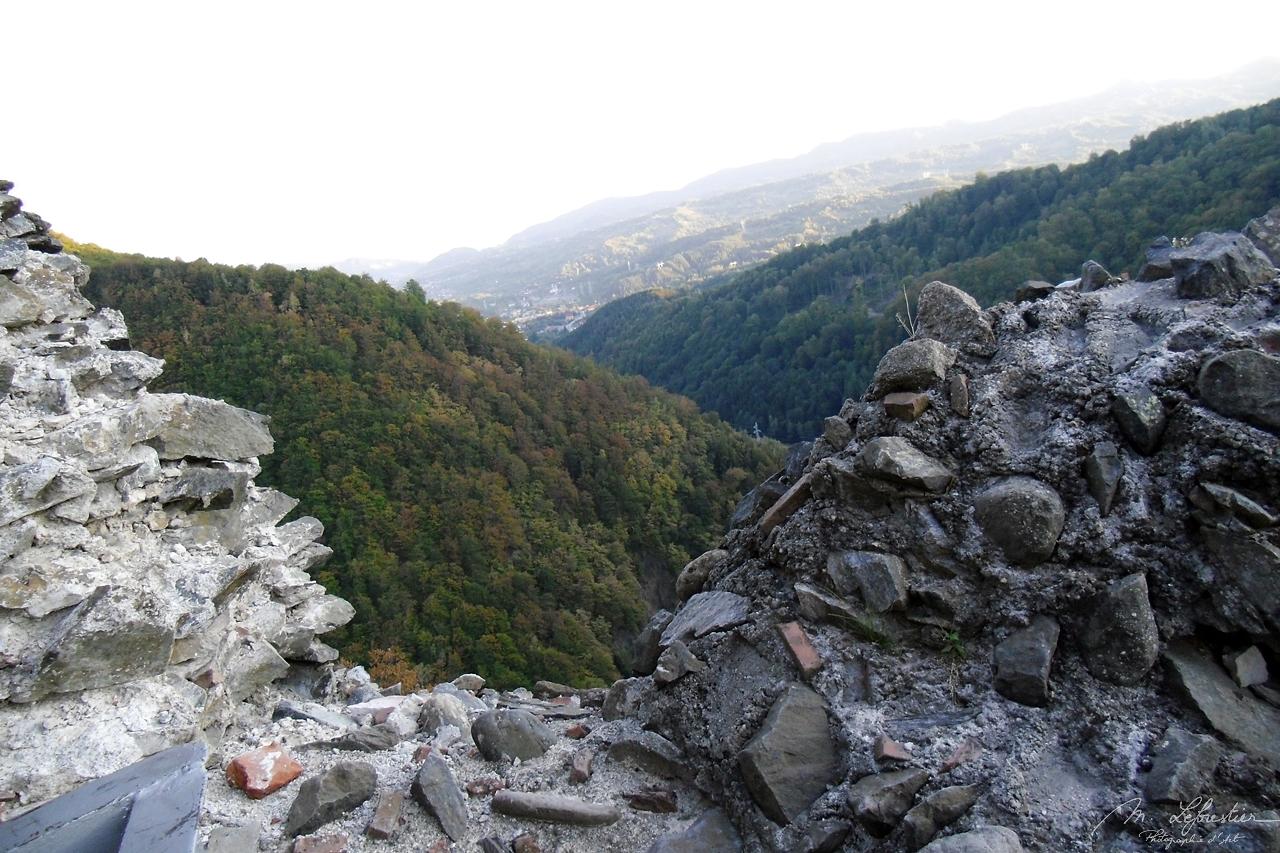 stones at Poenari real castle of Dracula in Transylvania