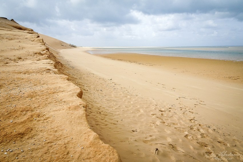 the sand dunes in Bazaruto island after the storm as the sun slowly stared to appear