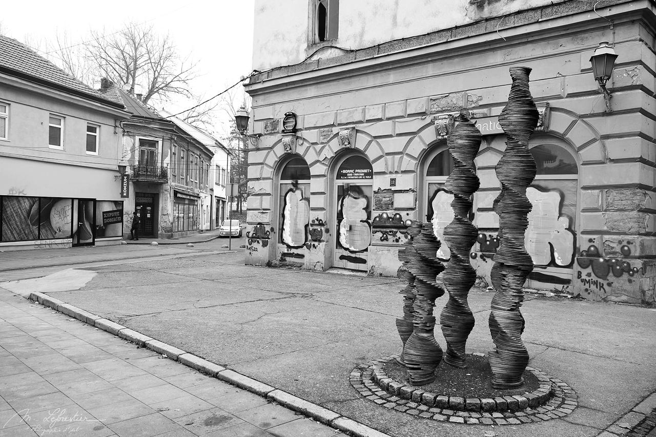 in front of borac promet in Tuzla Bosnia