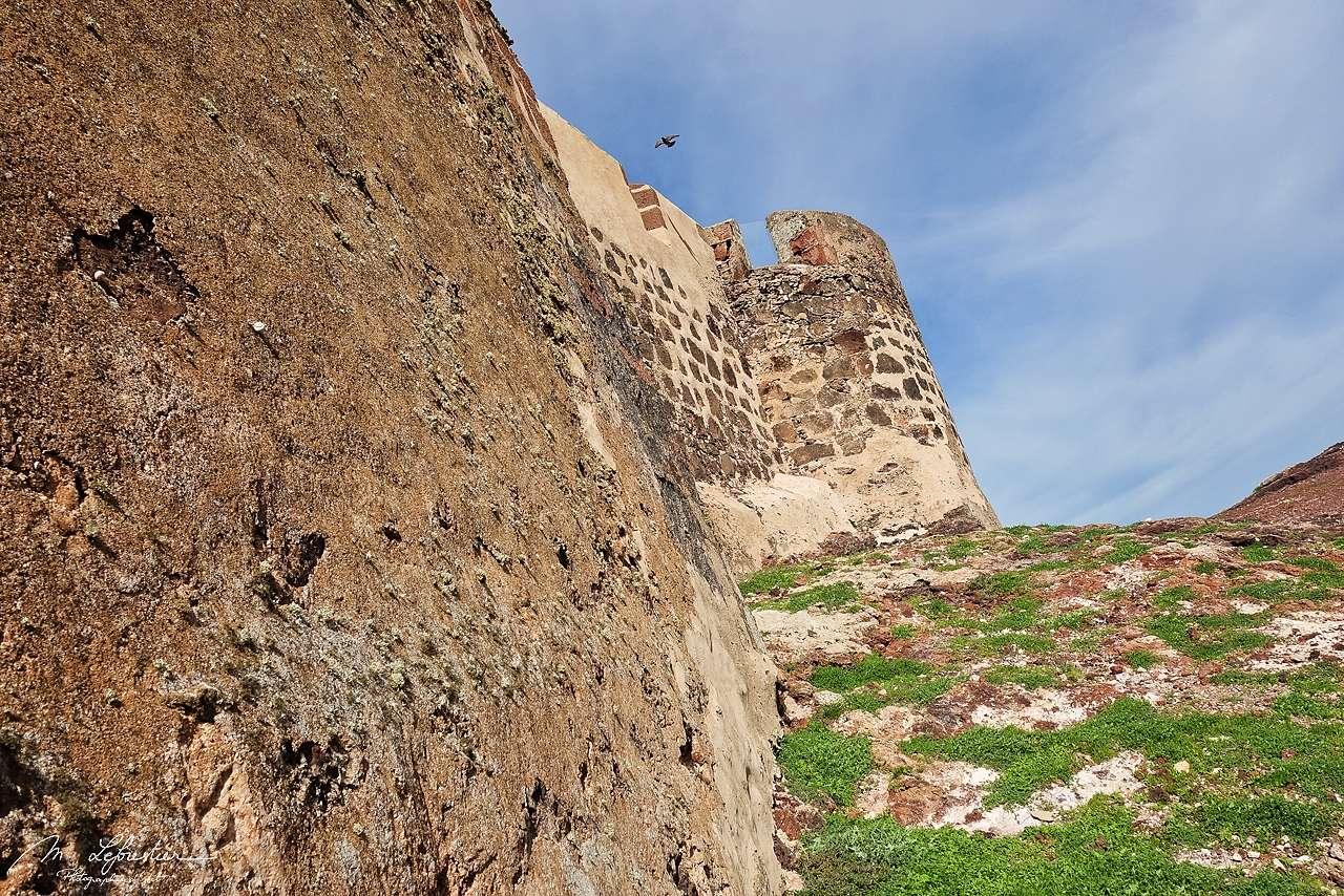 side view of the castillo de Santa Barbara in Teguise Lanzarote Canaries islands Spain