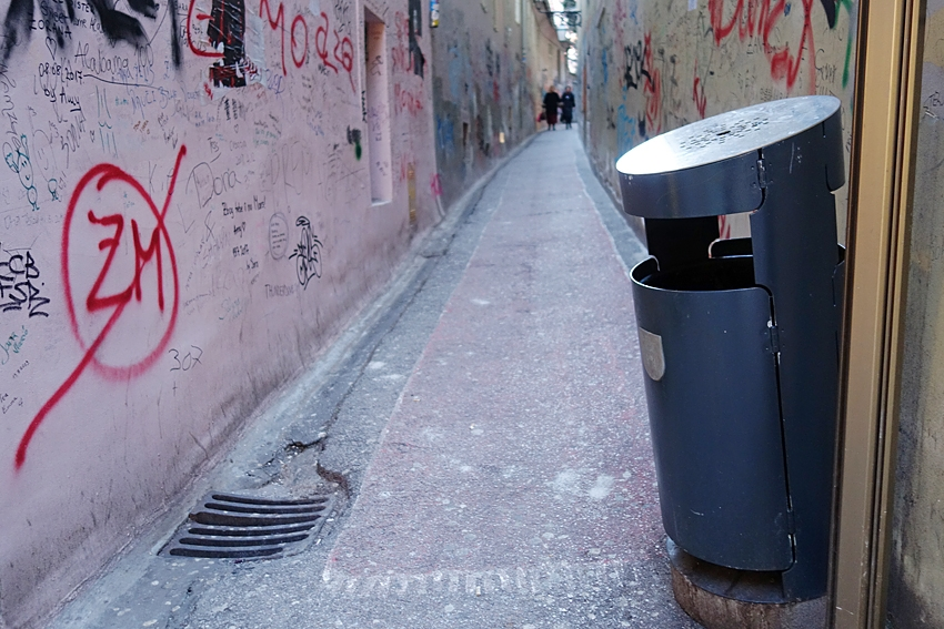 a litter bin in the stube ivana zakmardija in Zagreb Croatia