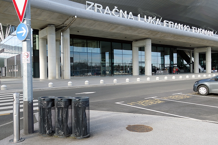 three litter bins at the airport of Zagreb in Croatia
