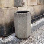 a litter bin in the street of Prague, capital of the Czech Republic