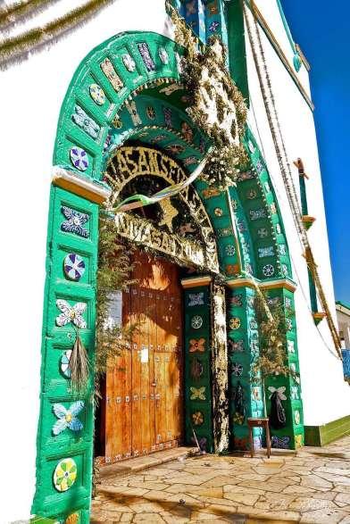 door of the entrance of the church of San Juan de Chamula in Chiapas Mexico