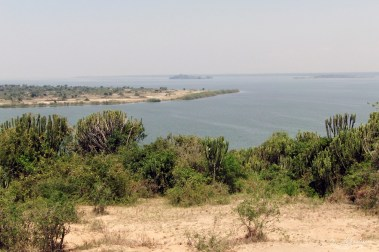 view by day of the Kazinga Channel in Queen Elizabeth National Park in Uganda Africa