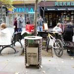 a street litter bin in the center of Skopje Macedonia
