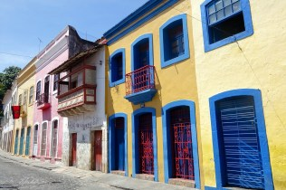 facades of colorful houses in the colonial town of Olinda in Pernambuco Brazil