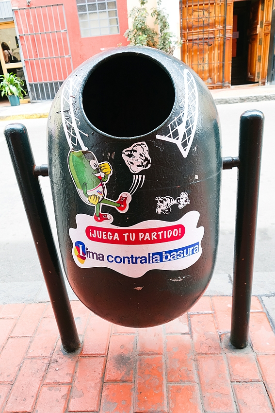 a street litter bin in Peru Lima