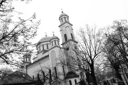 black and white photo of Saint George Serbian Orthodox church in Tuzla