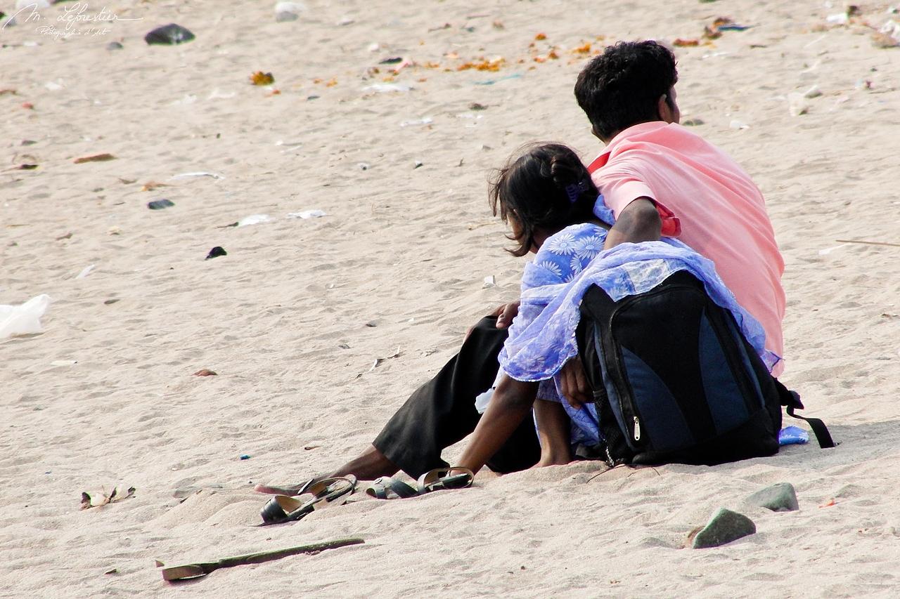 sitting on the Mumbai Versova beach in 2011