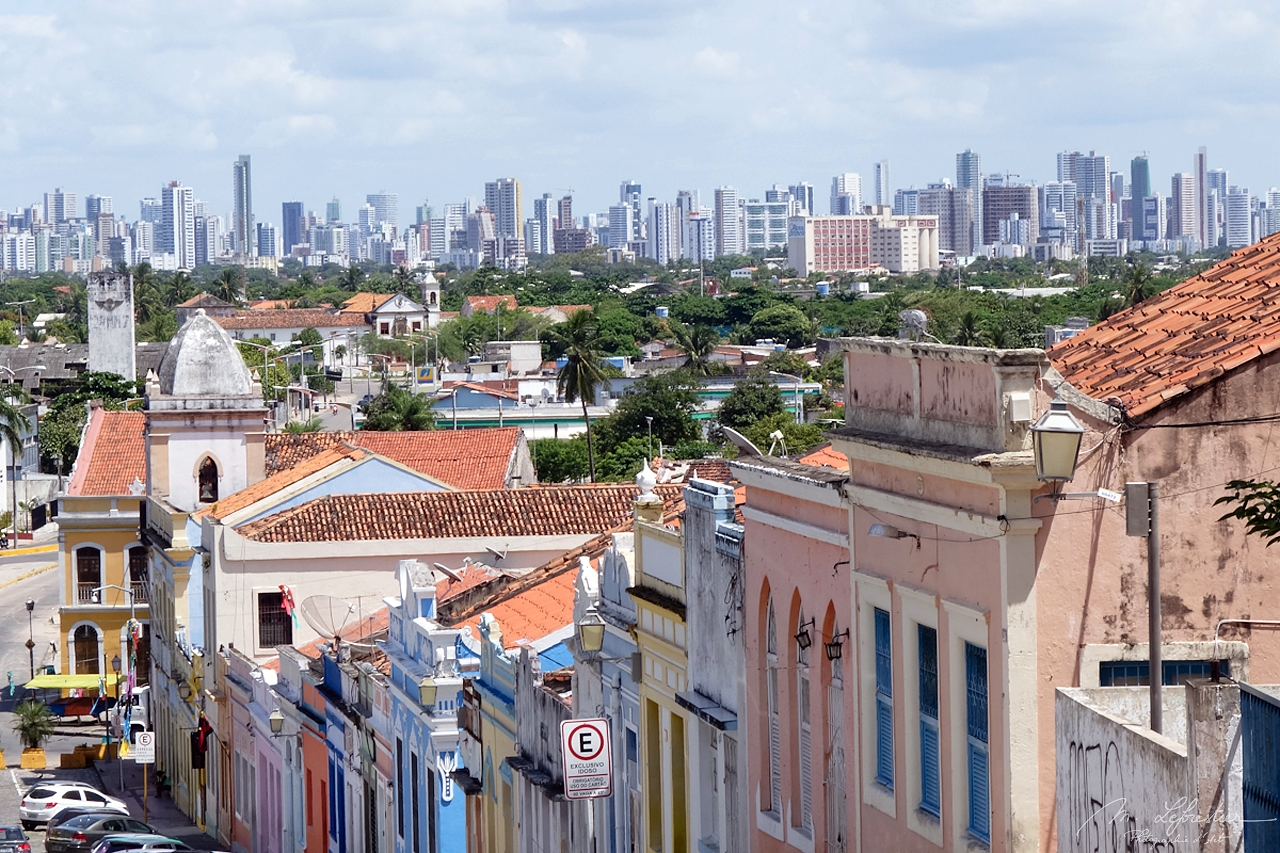 View of the Skyline of Recife in the background from the colonial town Olinda in Pernambuco Brazil