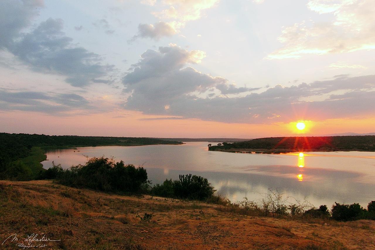 sunrise view of the Kazinga channel in Queen Elizabeth np in Uganda