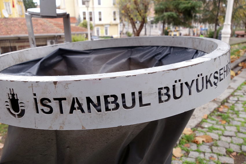 the top of a street litter bin in Istanbul Turkey