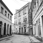 Street photography in black and white of Tuzla Bosnia Herzegovina empty street