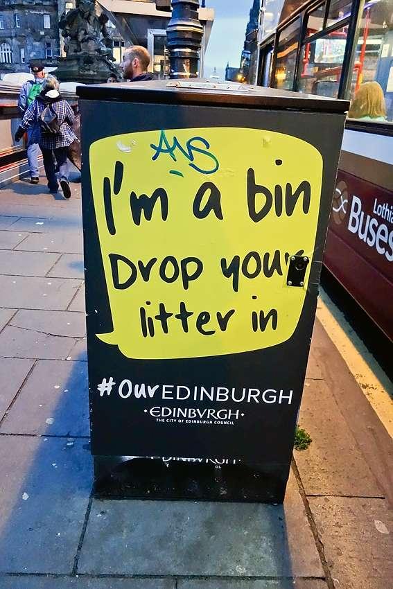I'm a bin drop your litter in street litter bin in Edinburgh Scotland United Kingdom