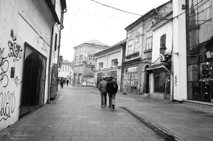 people walking in the streets in Tuzla Bosnia Herzegovina