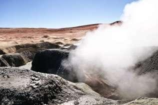 smoke fumes on the Geyser Sol de Mañana in Bolivia