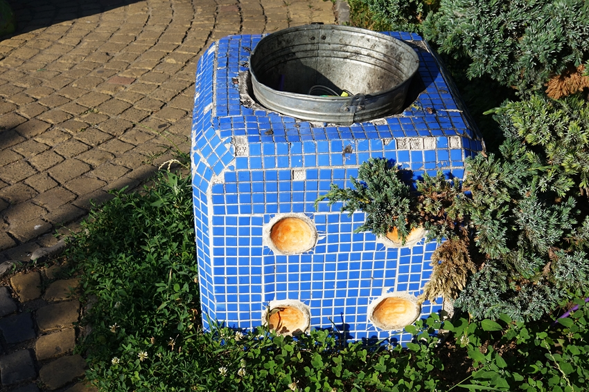 a litter bin in the children's park Peizazhna alley in Kiev Ukraine