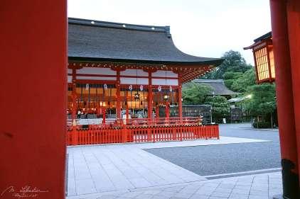 the Fushimi Inari shrine in Kyoto dedicated to the God of Rice and Sake